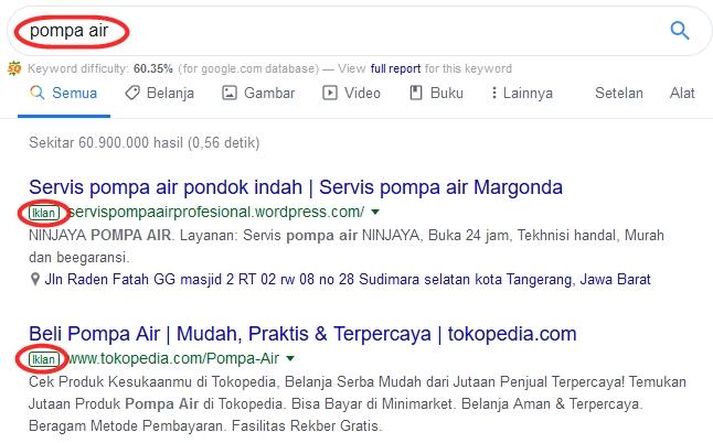 contoh iklan google pakai adwords